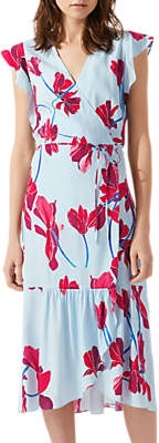 Jigsaw Cyclamen Floral Wrap Dress, Blue Wave