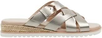 Easy Spirit Pace Crisscross Leather Wedge Sandals