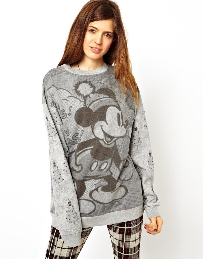 Asos Sweatshirt in Monochrome Mickey Mouse Christmas Print