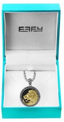 Effy Sterling Silver, Goldplated & Black Sapphire Lion Medallion Pendant Necklace