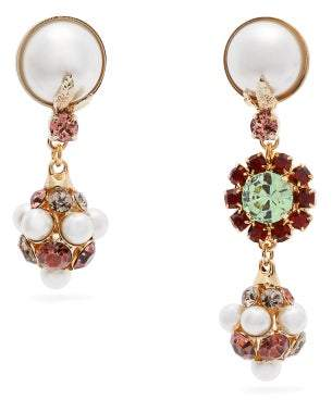 Erdem Crystal Embellished Mismatched Earrings - Womens - Pink