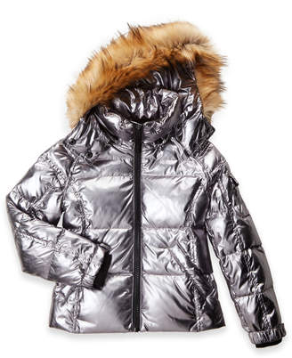 S13 Girls 7-16) Metallic Mogul Faux Fur-Trimmed Down Coat