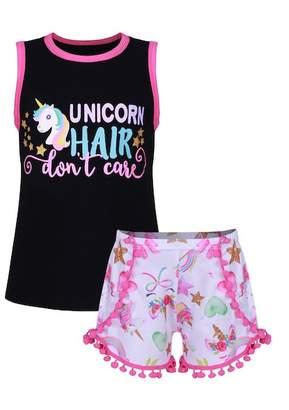 "Mia Belle Girls Fuchsia & Black \""Unicorn Hair Don't Care\"" Sleeveless Top & Matching Pom Pom Shorts (Toddler, Little Girls, & Big Girls)"