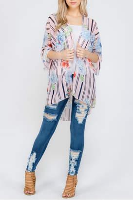 Cezanne Floral/stripe Chiffon Cardigan