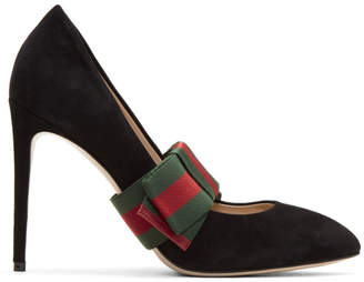 Gucci Black Suede Web Bow Heels