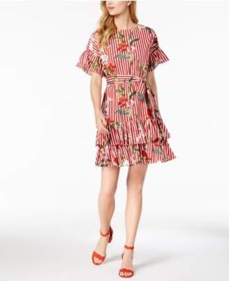 Julia Jordan Ruffled Mixed-Print Tie Dress