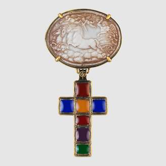 Gucci Brooch with cross and cameo