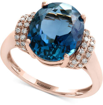 Effy Ocean Bleu by London Blue Topaz (5-1/3 ct. t.w.) and Diamond (1/8 ct. t.w.) Ring in 14k Rose Gold