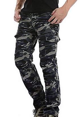 N. sadness Mens Casual Cotton Multi Pockets Fleece Lined Straight Leg Cargo Pants