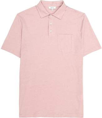 Reiss Seacroft - Melange Polo Shirt in Rose Pink