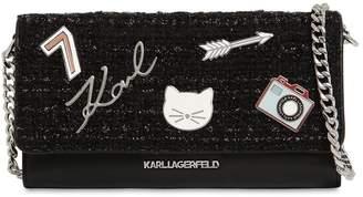 Karl Lagerfeld K/Klassik Patches Tweed Wallet Chain