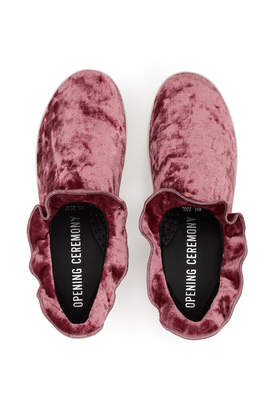 Opening Ceremony Didi Velvet Ruffle Slip-On Sneakers