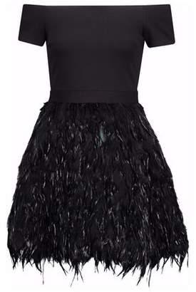 Alice + Olivia Alice+olivia Off-The-Shoulder Feather-Embellished Ponte Mini Dress