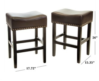 Noble House Lonnie Brown Backless Counter Stool (Set of 2)