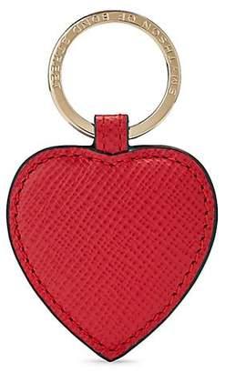 Smythson Women's Panama Leather Heart Keyring - Red