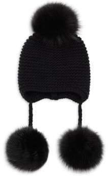Inverni Monnalisa Triple Fur Pom Pom Hat