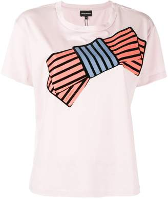 Emporio Armani bow print short-sleeve T-shirt