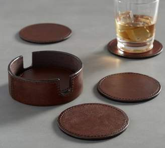 Pottery Barn Saddle Leather Drink Coaster, Set of 6
