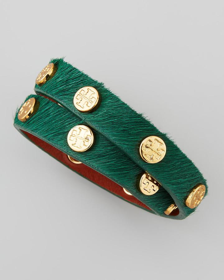 Tory Burch Logo-Studded Calf Hair Wrap Bracelet, Green