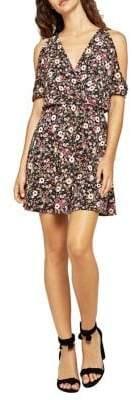 BCBGeneration Floral Cold-Shoulder Surplice Dress