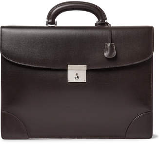 Valextra Cross-Grain Leather Briefcase - Men - Dark brown