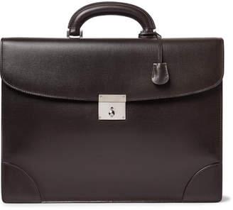 Valextra Cross-Grain Leather Briefcase - Dark brown