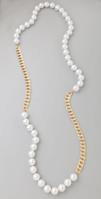Kenneth Jay Lane Pearl Link Necklace