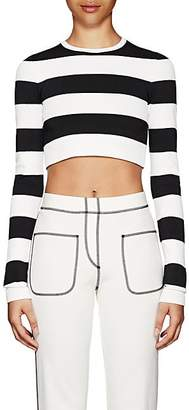 Marc Jacobs Women's Striped Compact Knit Crop Top - Black Pat.
