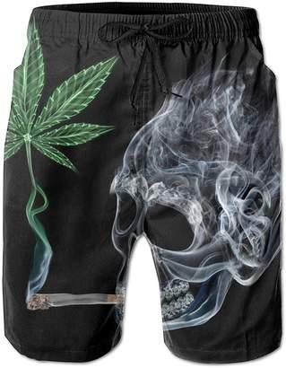 Trunks ONETAIWA Skull Smoking Cannabis Leaf Men's Pocket Swim Sports Quick Dry Beach Board Shorts