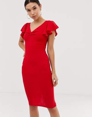 AX Paris v neck ruffle sleeve midi dress