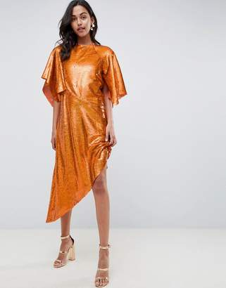 Asos EDITION Sequin Asymmetric Midi Dress