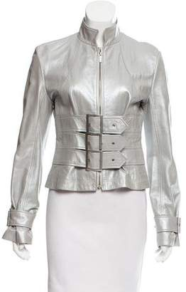 Herve Leger Metallic Leather Jacket