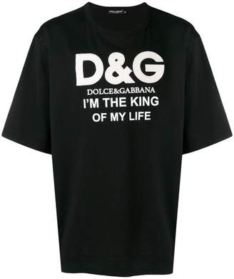 Dolce & Gabbana I'm The King Of My Life logo print T-shirt