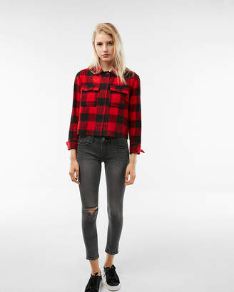 Express Cropped Flannel Shacket