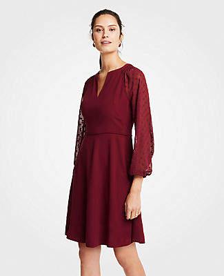 Ann Taylor Chiffon Dot Sleeve Flare Dress