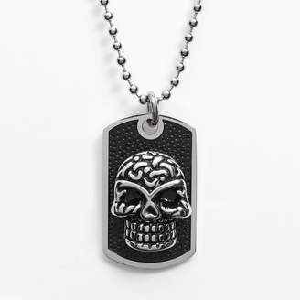 Stainless Steel & Black Immersion-Plated Stainless Steel Skull Dog Tag - Men