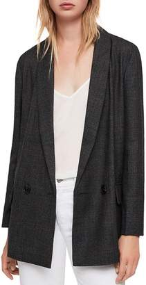 AllSaints Harriet Double-Breasted Check Blazer