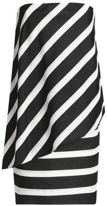Halston Strapless Striped Woven Mini Dress