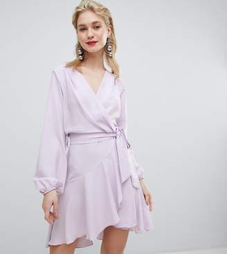 Flounce London wrap front mini dress in lilac