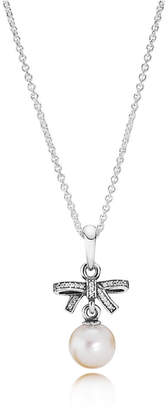 Pandora Bow Sterling Silver Pendant - Mixed Stones, Freshwater Cultured Pearl, White
