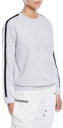 Brunello Cucinelli Crewneck Long-Sleeve Sweatshirt with Varsity Stripe