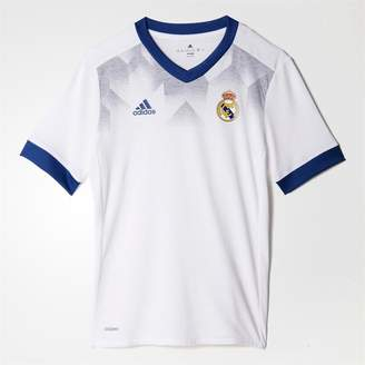 adidas Junior Boys RMCF Real Madrid Home Pre-Match Football Shirt White/Raw Purple