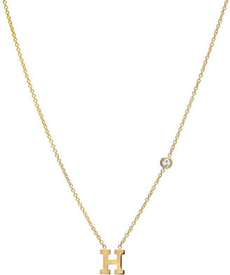 Zoe Lev Jewelry Personalized Initial & Diamond Bezel Necklace in 14K Yellow Gold