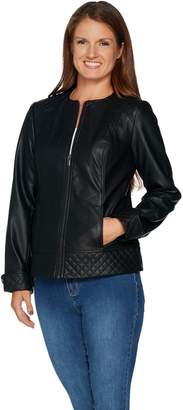 Denim & Co. Studio by Faux Leather Jacket with Quilting Detail