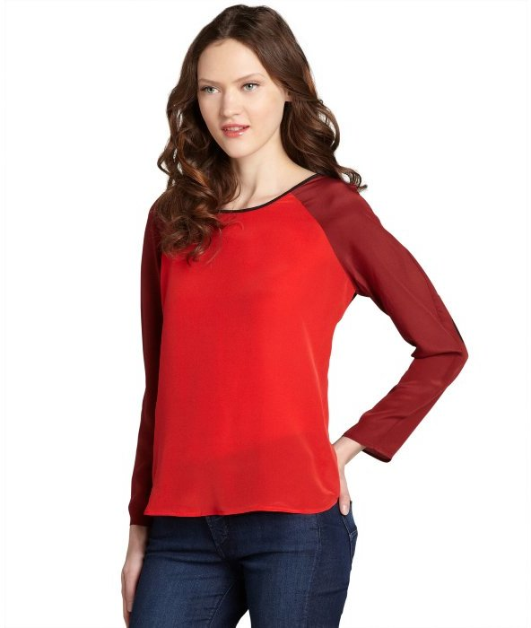 Wyatt red and black silk colorblock blouse