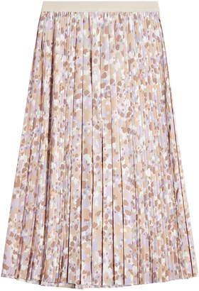 Agnona Pleated Midi Skirt with Silk