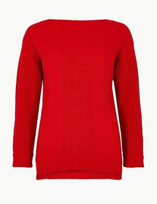 Marks and Spencer Pure Cotton Cable Knit Slash Neck Jumper
