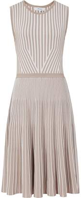 Reiss Becky - Striped Knitted Dress in Neutral