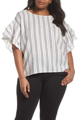 Vince Camuto Tiered Ruffle Sleeve Stripe Blouse
