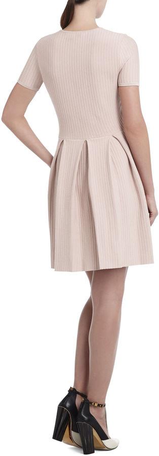 BCBGMAXAZRIA Elandra Pleated Ottoman-Stitch Dress